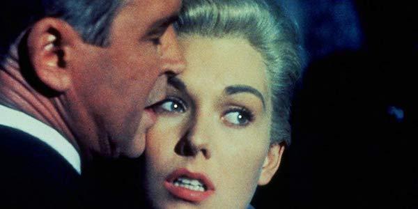 James Stewart and Kim Novak in Alfred Hitchcock's  Vertigo