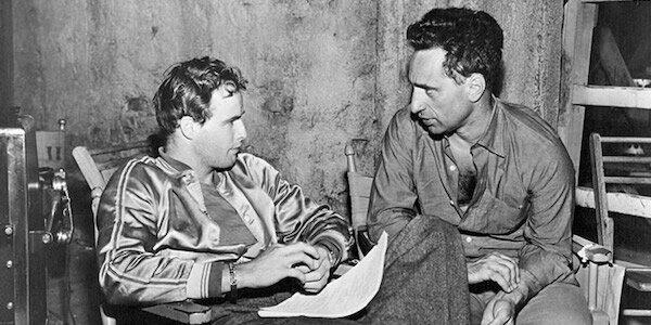 Elia Kazan (right) with Marlon Brando on the set of  A Streetcar Named Desire