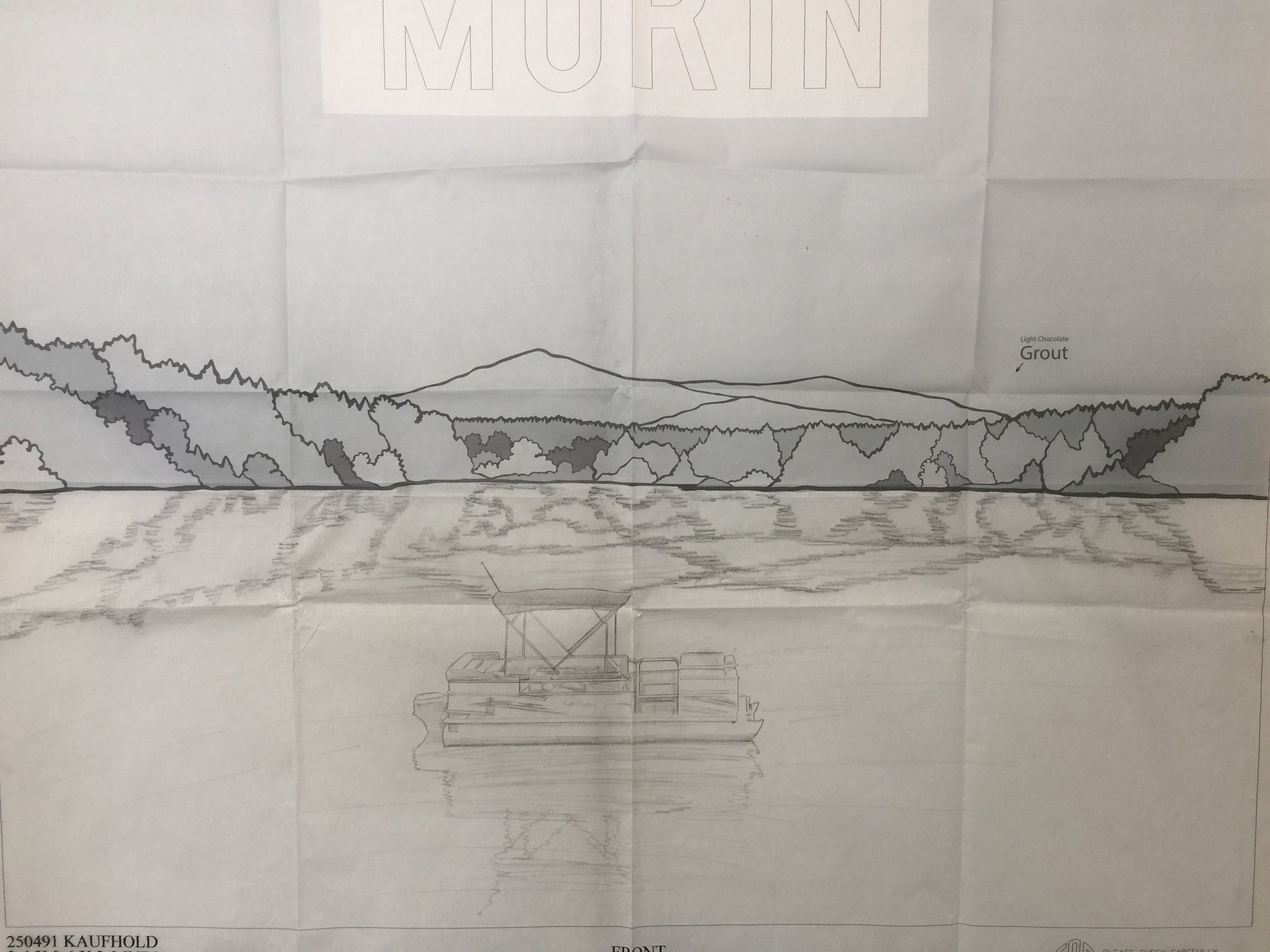Above is a full-size drawing of a beautiful Hand Etching accompanied by a Colored Glass fall treeline and Mt. Monadnock skyline.