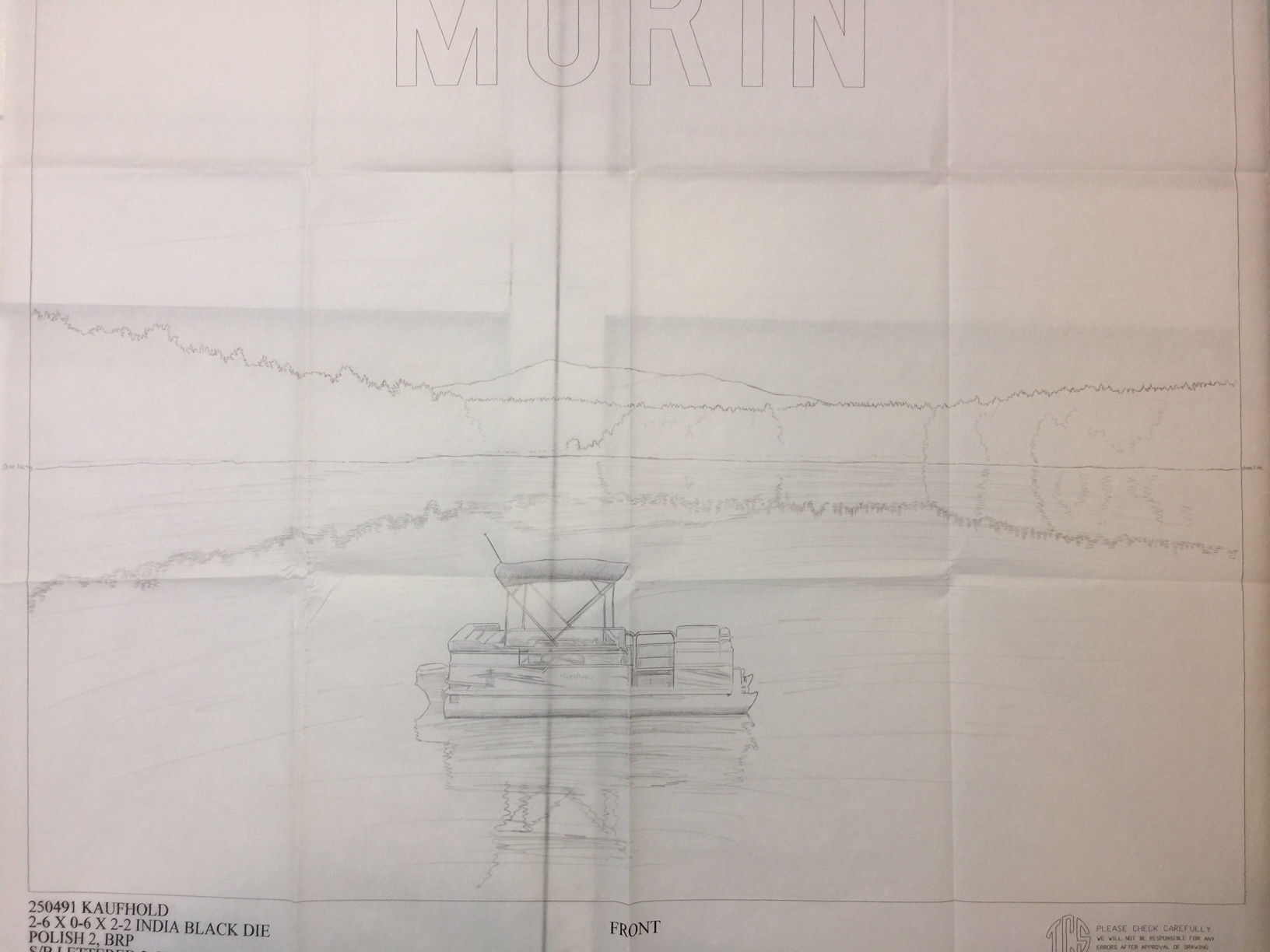 First Draft Full Size Drawing of Hand Etching and Glass Art Design