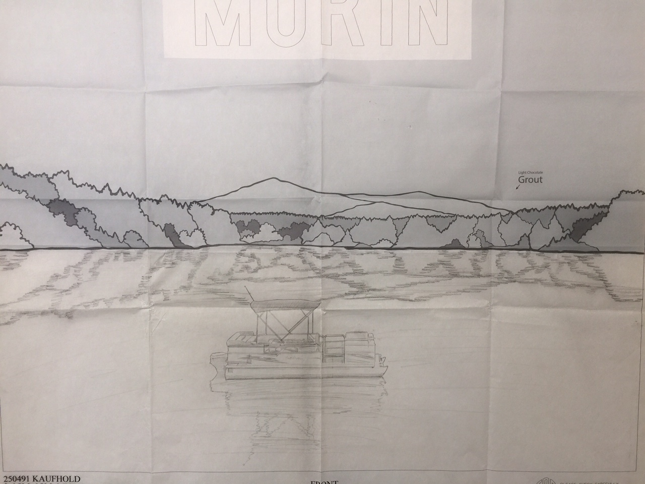 Final Draft Full Size Drawing of Glass Art and Hand Etching Design together