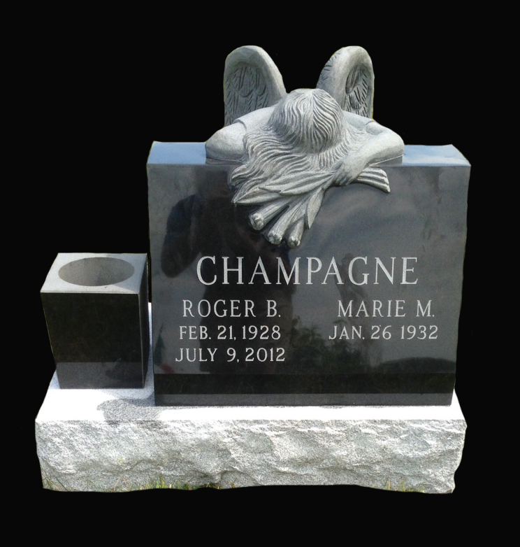 India Black Granite Slant (Polished with weeping angel carving, skin frosted lettering, square vase and Gray Granite base)