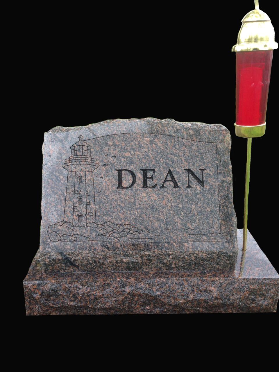 Dakota Mahogany Slant (Polished border with lighthouse carving and candle holder)  Stone is shown wet from setting