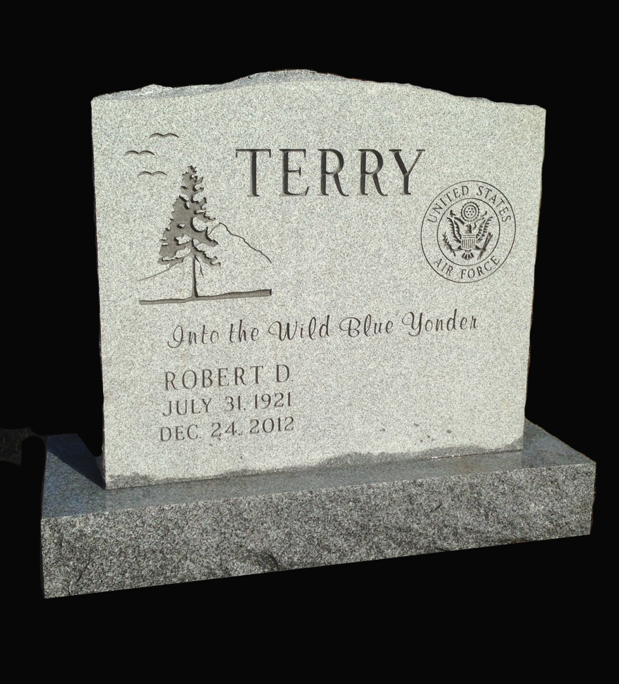 Barre, VT Gray Granite Steeled front and back with Rock Pitch Sides coupled with a personal quote, traditional designs and service emblem