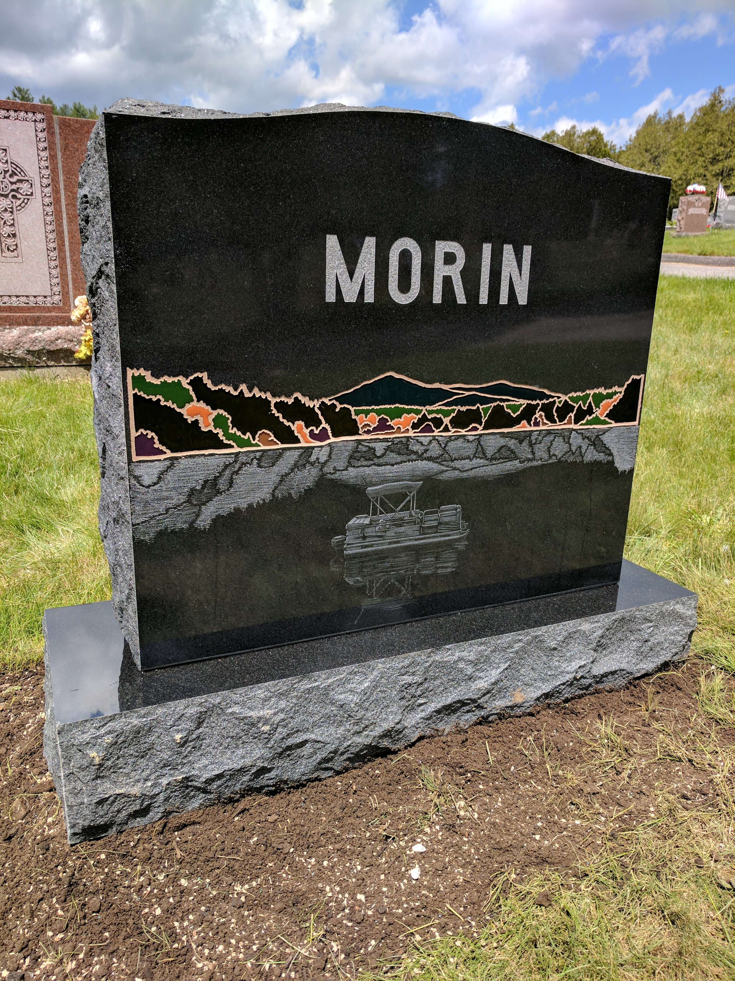 Finished monument set in cemetery