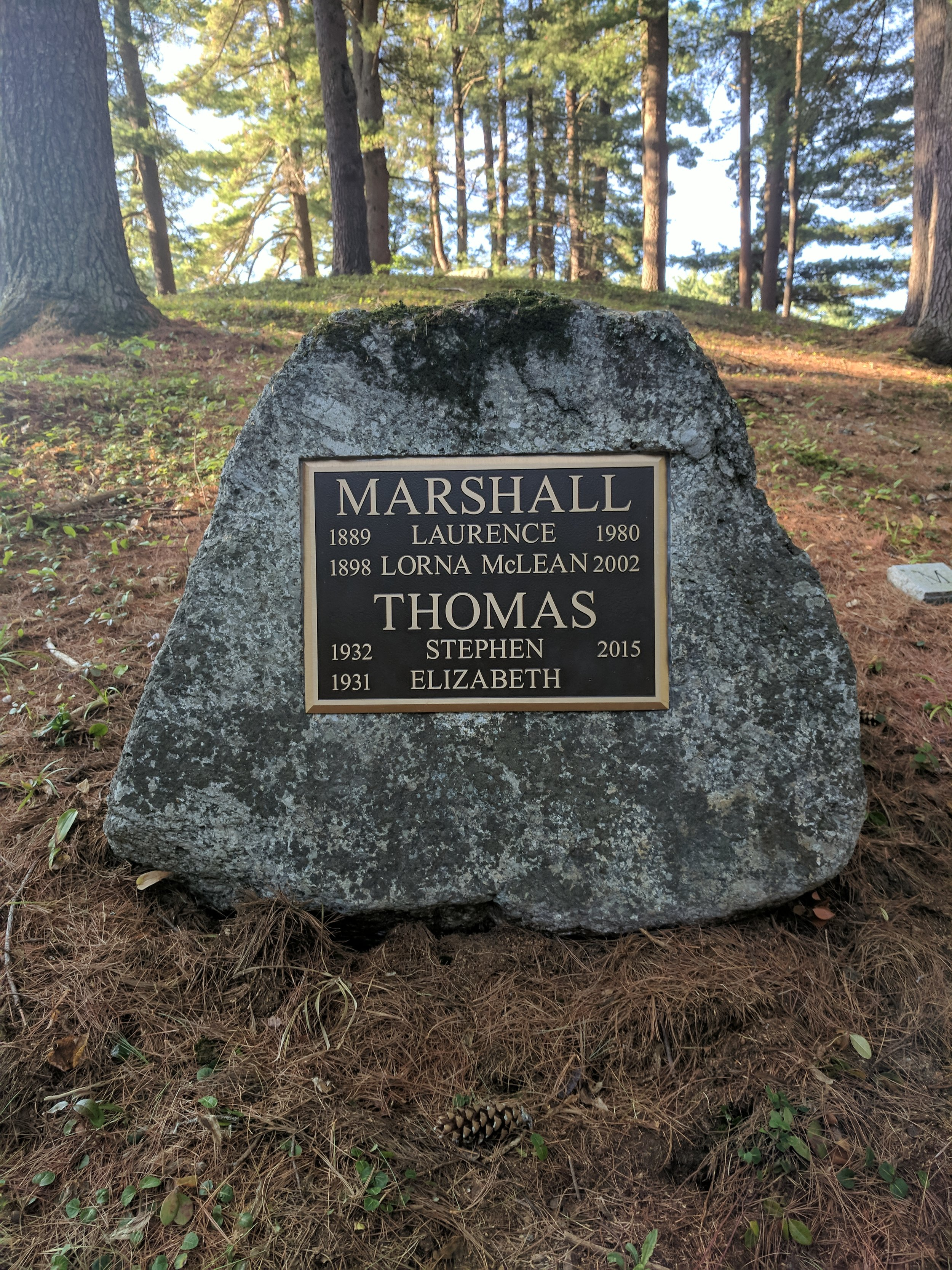 The Marshall boulder was just recently updated with a new bronze plaque that includes more family names and dates.