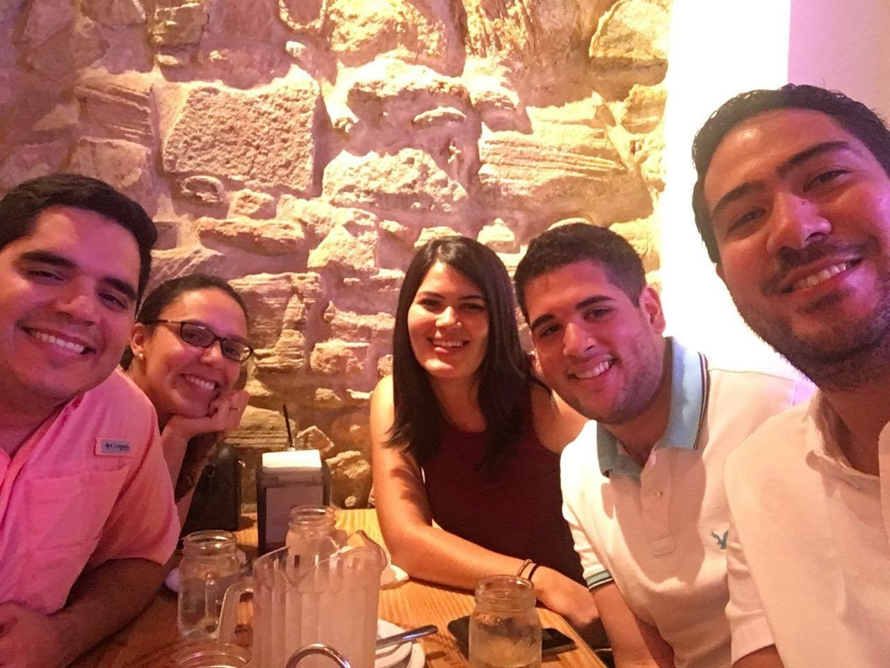 Dinner with my cousins in Panama.