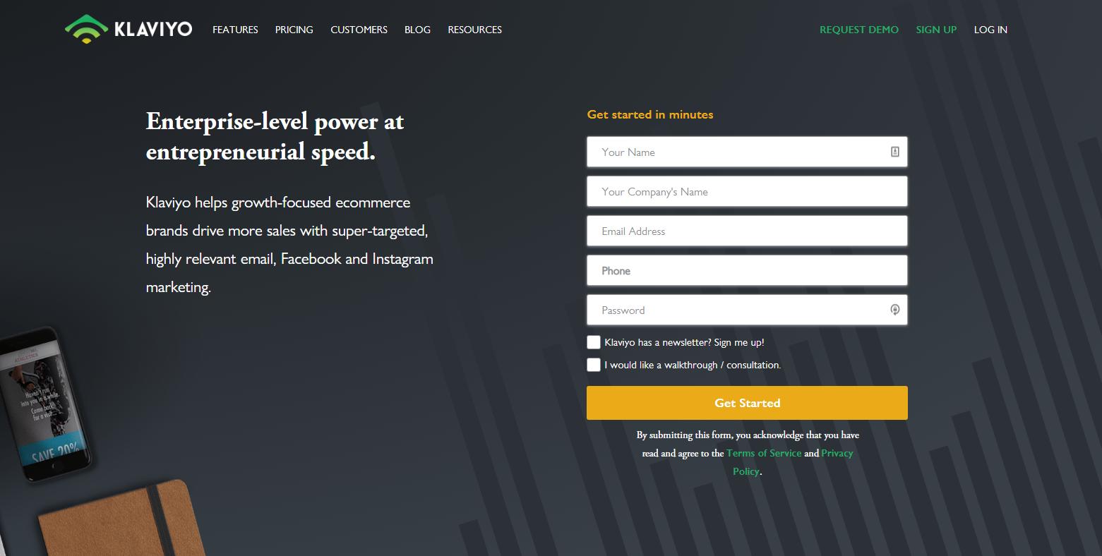 Klaviyo home page