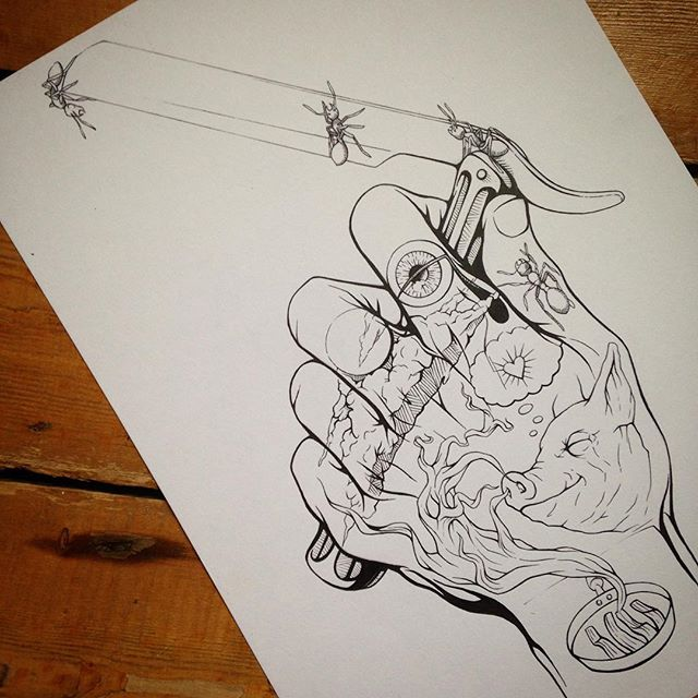 """""""Once Upon A Time, Eight Years Later..."""" #tbt #inktober #luisbunuel, #salvadordali #unchienandalou #pixies #debaser #handtattoo #humansoup #rycbrown"""
