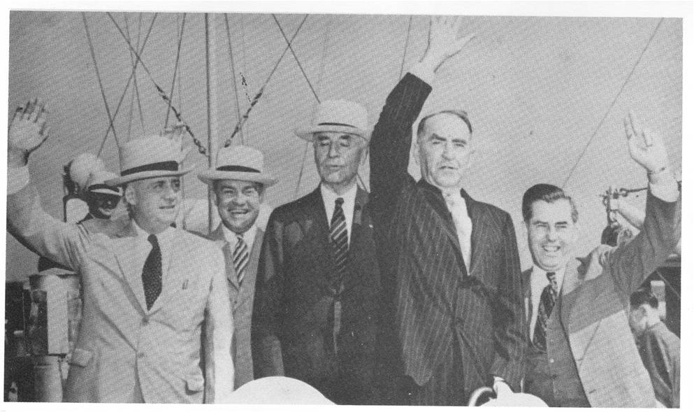 Boarding a Coast Guard cutter on June 25th, 1937, at the Naval Academy for a party harmony conference with President Roosevelt at Jefferson Island are (left to right): Rep Sam Rayburn (D-Tex).); Secretary of War Harry H. Woodring; Secretary of State Cordell Hull; Speaker of the House William B. Bankhead (D-Ala.), and Secretary of Agriculture Henry A. Wallace. (AP/World Wide Photos)