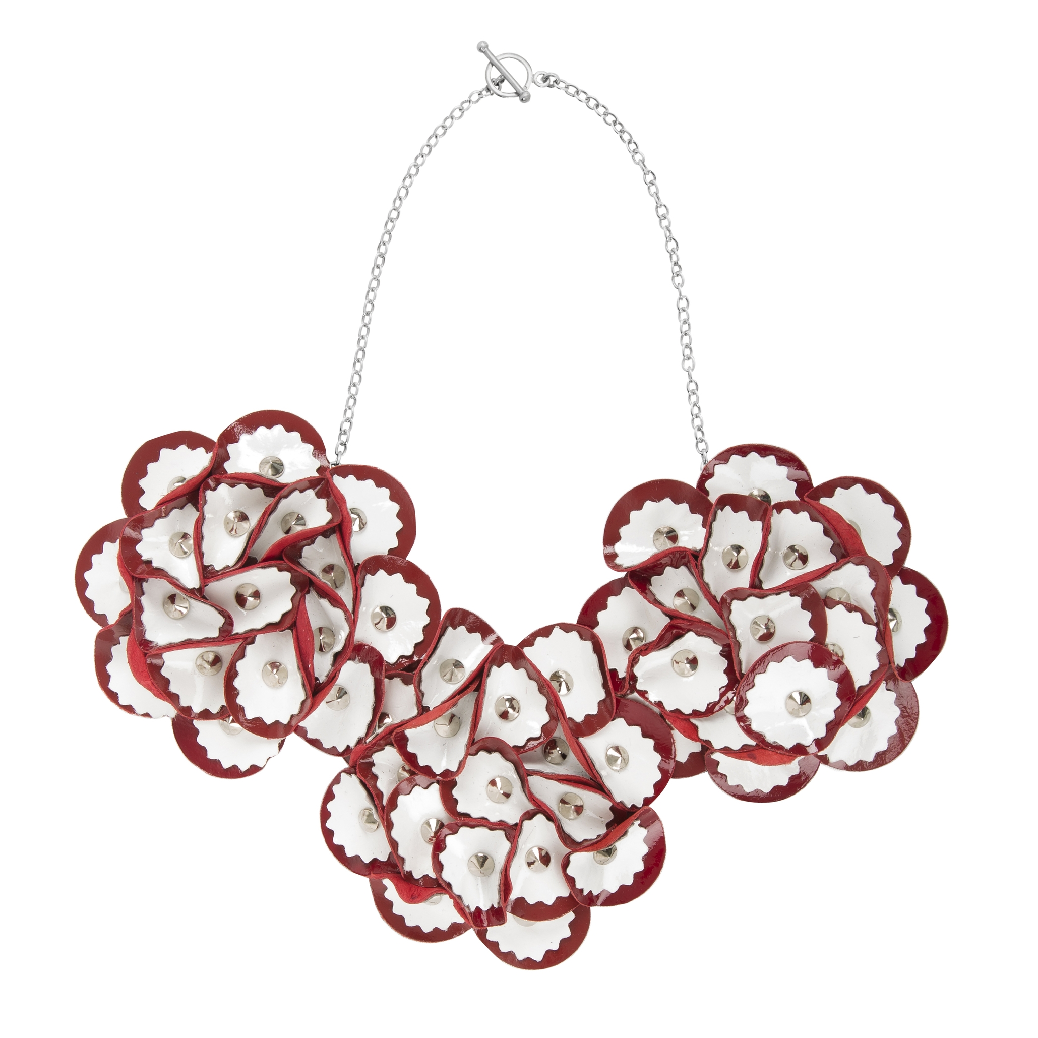 Elsie Necklace /// White on Red