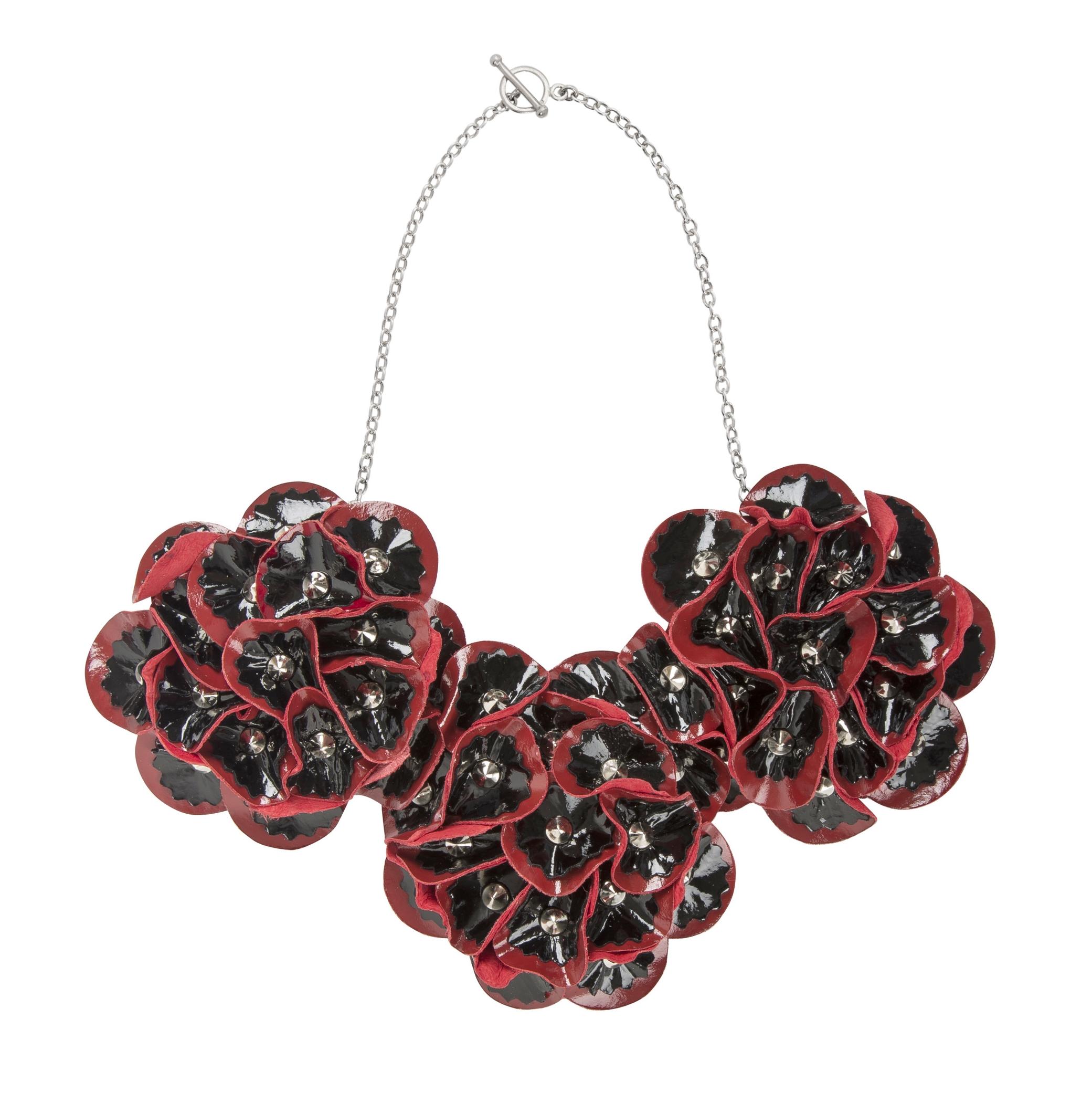 Elsie Necklace /// Black on Red