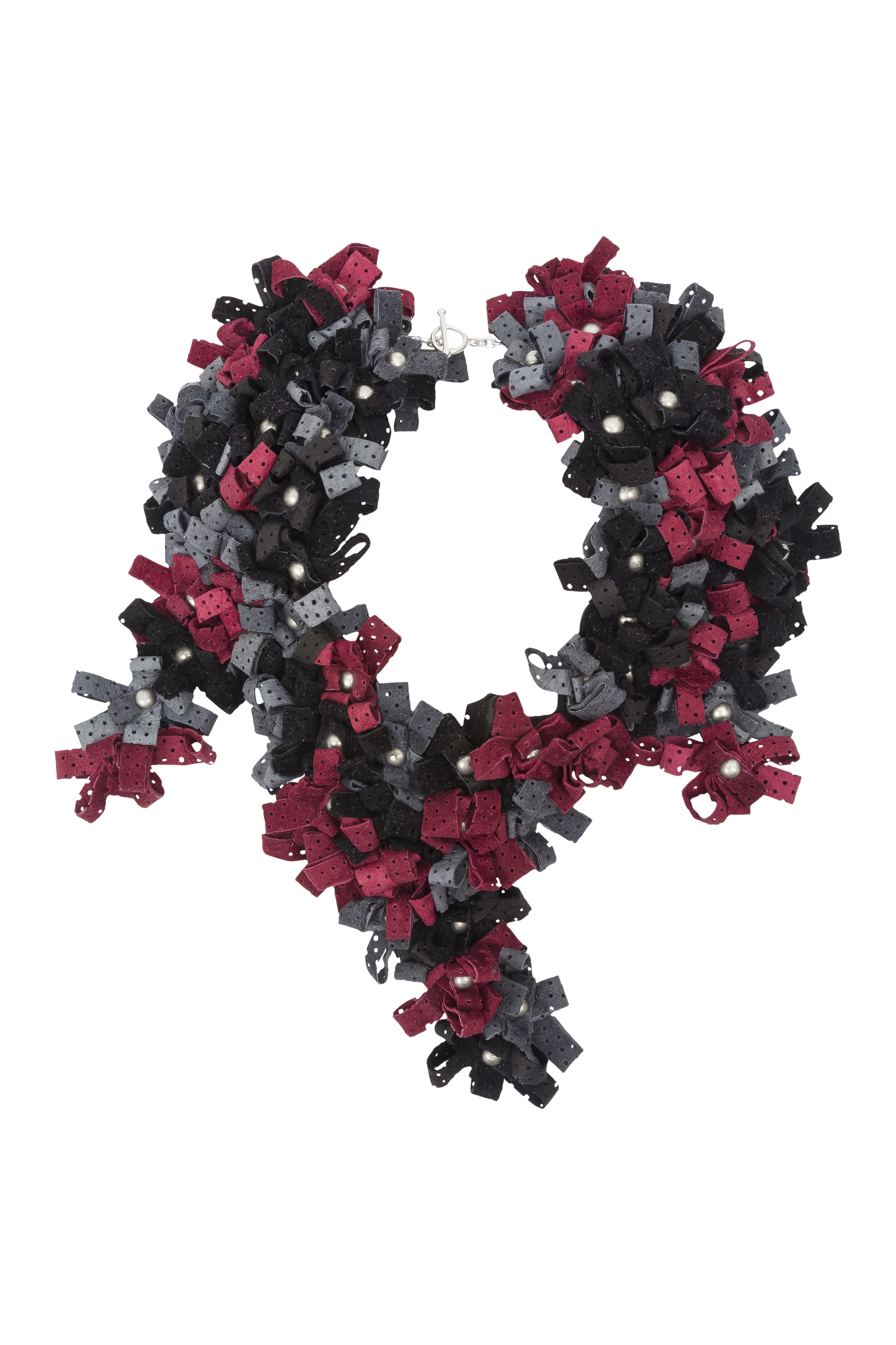 Maya Necklace /// Black, grey, wine