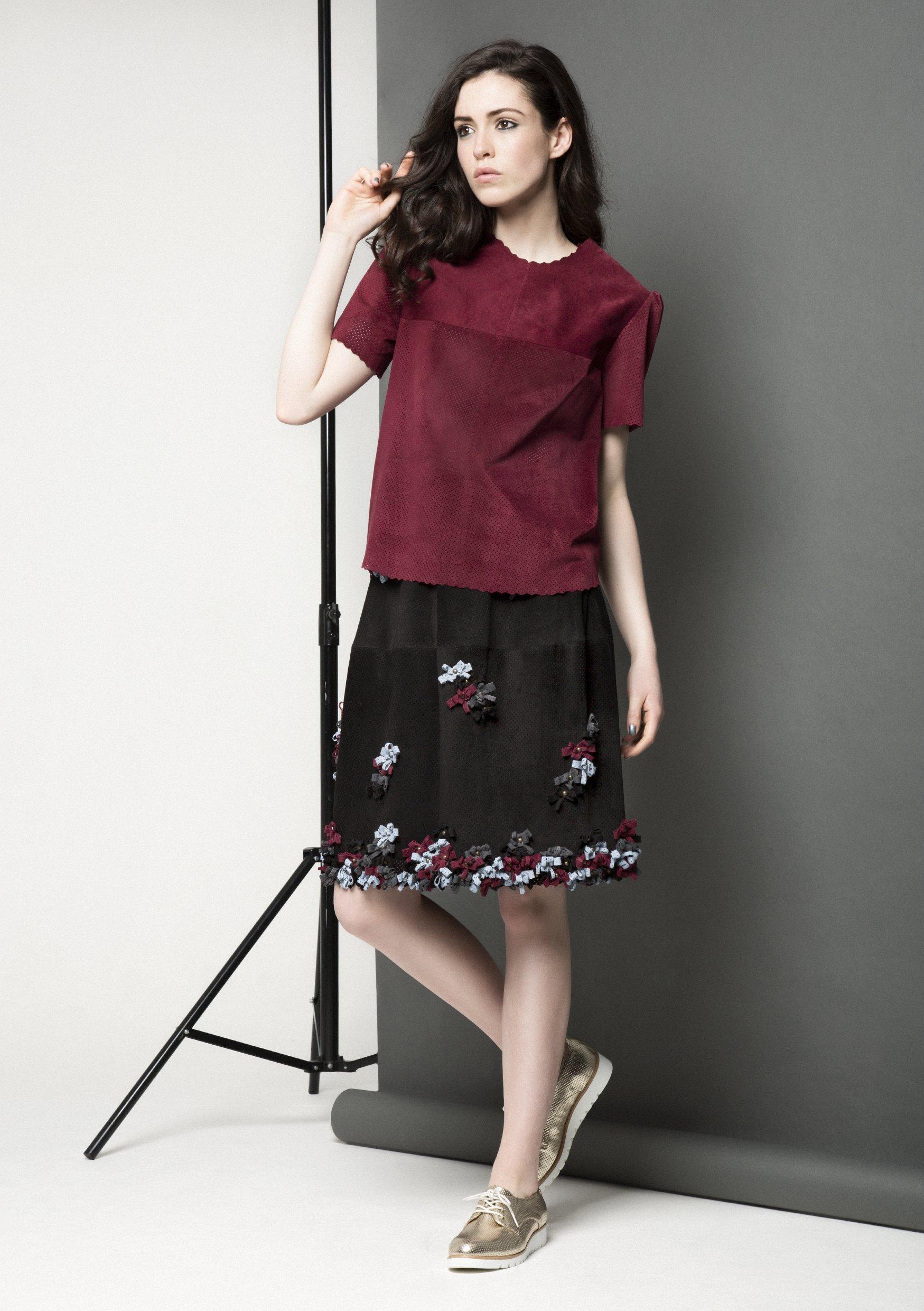 Manley AW15 Maya Leather Tee €220, Lexi Bow Skirt €399.jpg