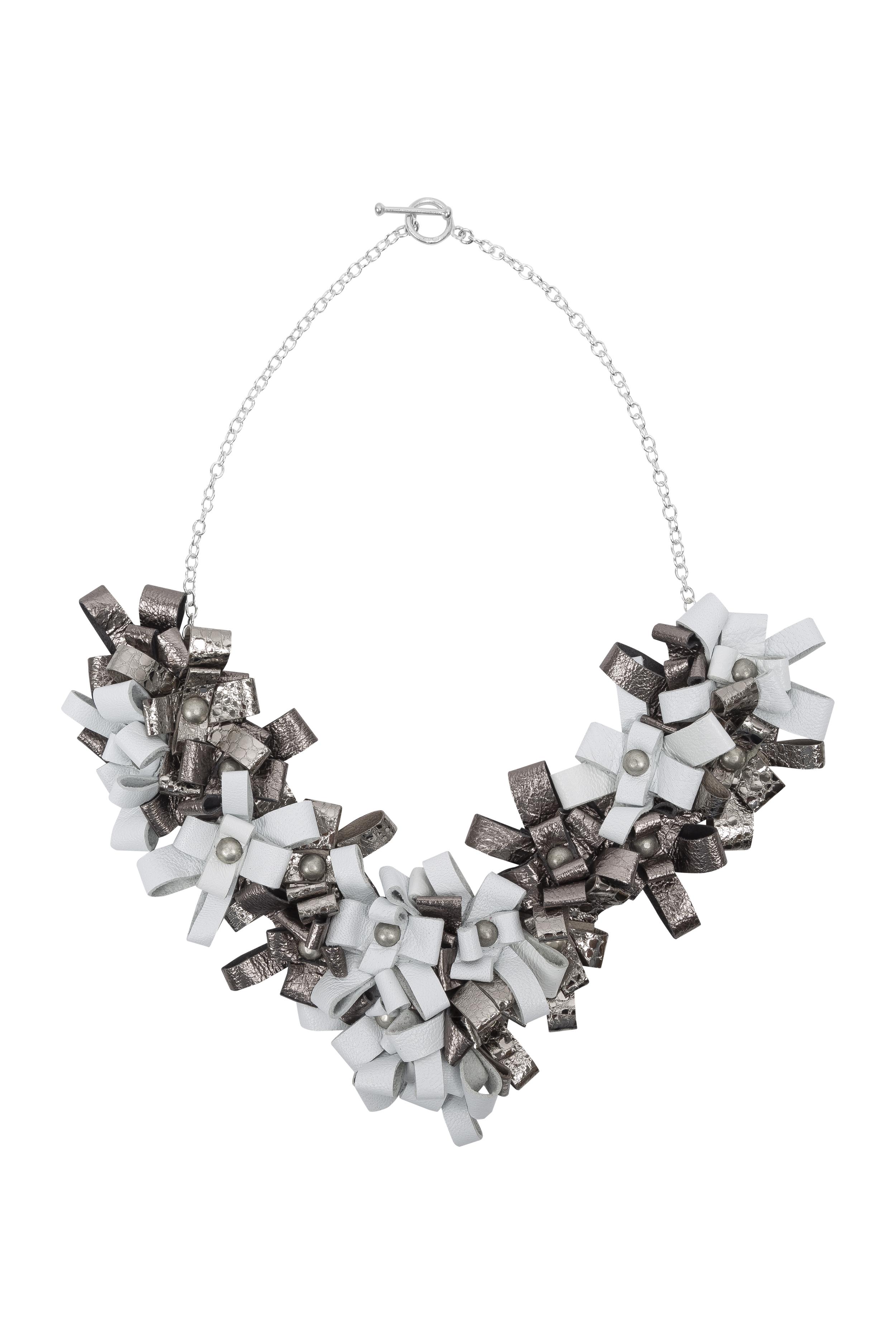 Cori Necklace /// Old Silver & White