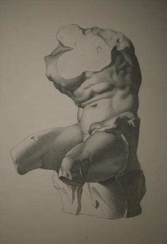 Bargue Belvedere Torso Lithograph Copy , Charcoal on Paper, 2012.