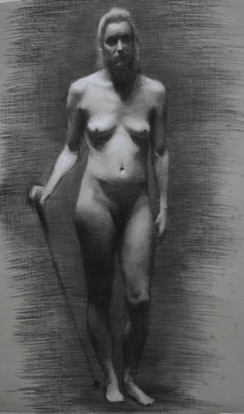Ena, Charcoal and White Chalk, 2012