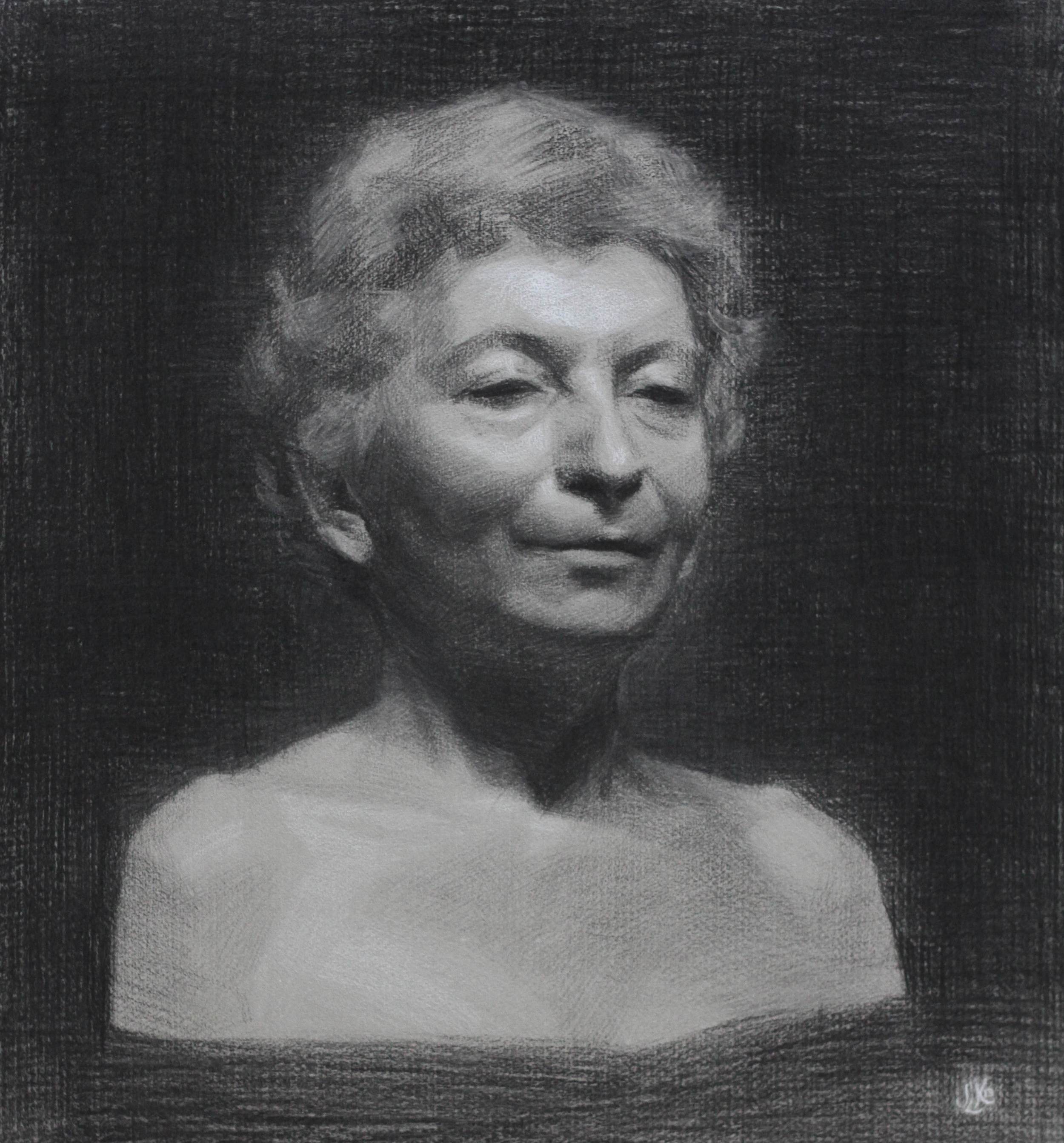 maria virginia, charcoal & white chalk on paper, 2013