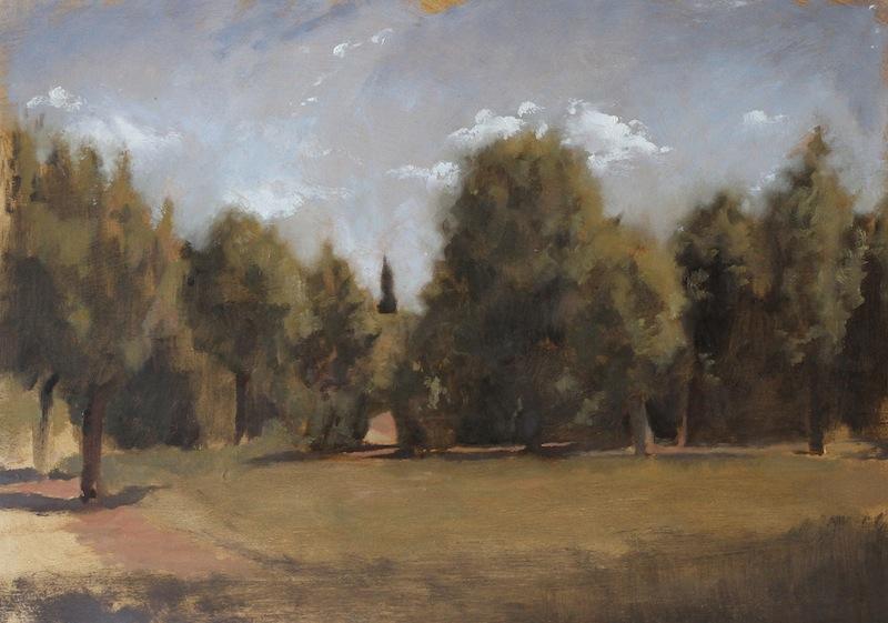 boboli morning, oil on panel, 2014