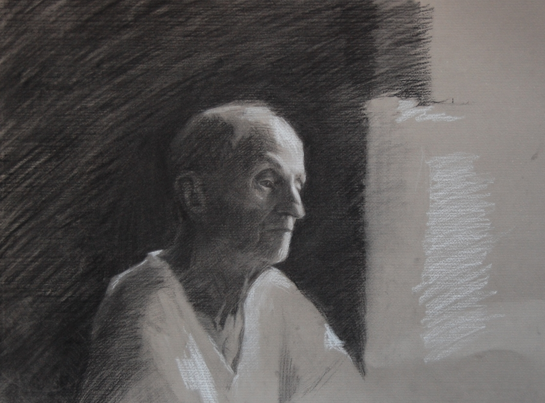 poppy, charcoal & white chalk on paper, 2012
