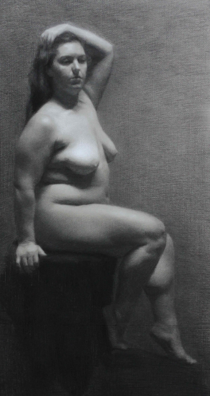 """Anna Rosa"" Charcoal and White Chalk on Toned Paper, 2013"