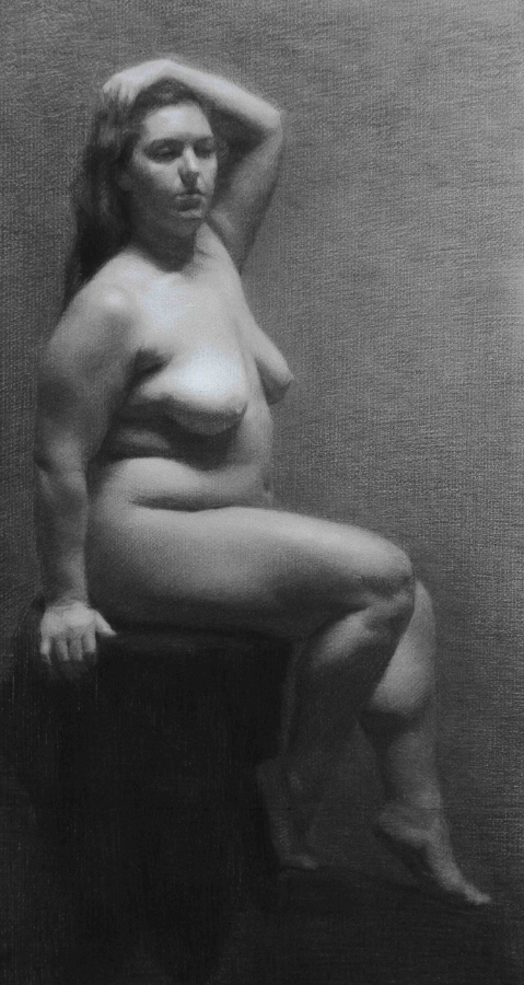 anna rosa, charcoal and white chalk on paper, 2013
