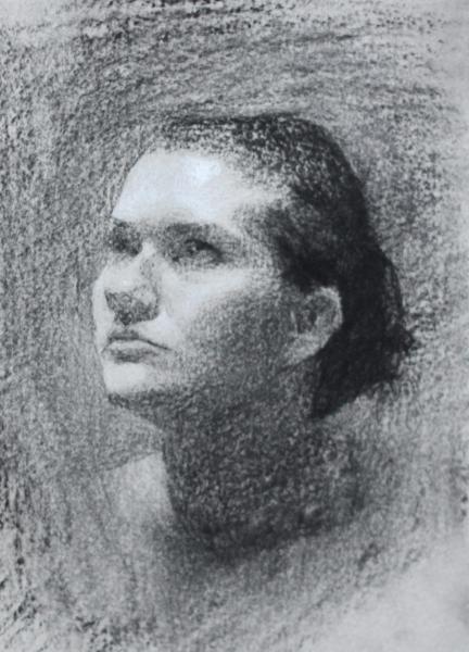 miss sadie, charcoal on paper, 2012