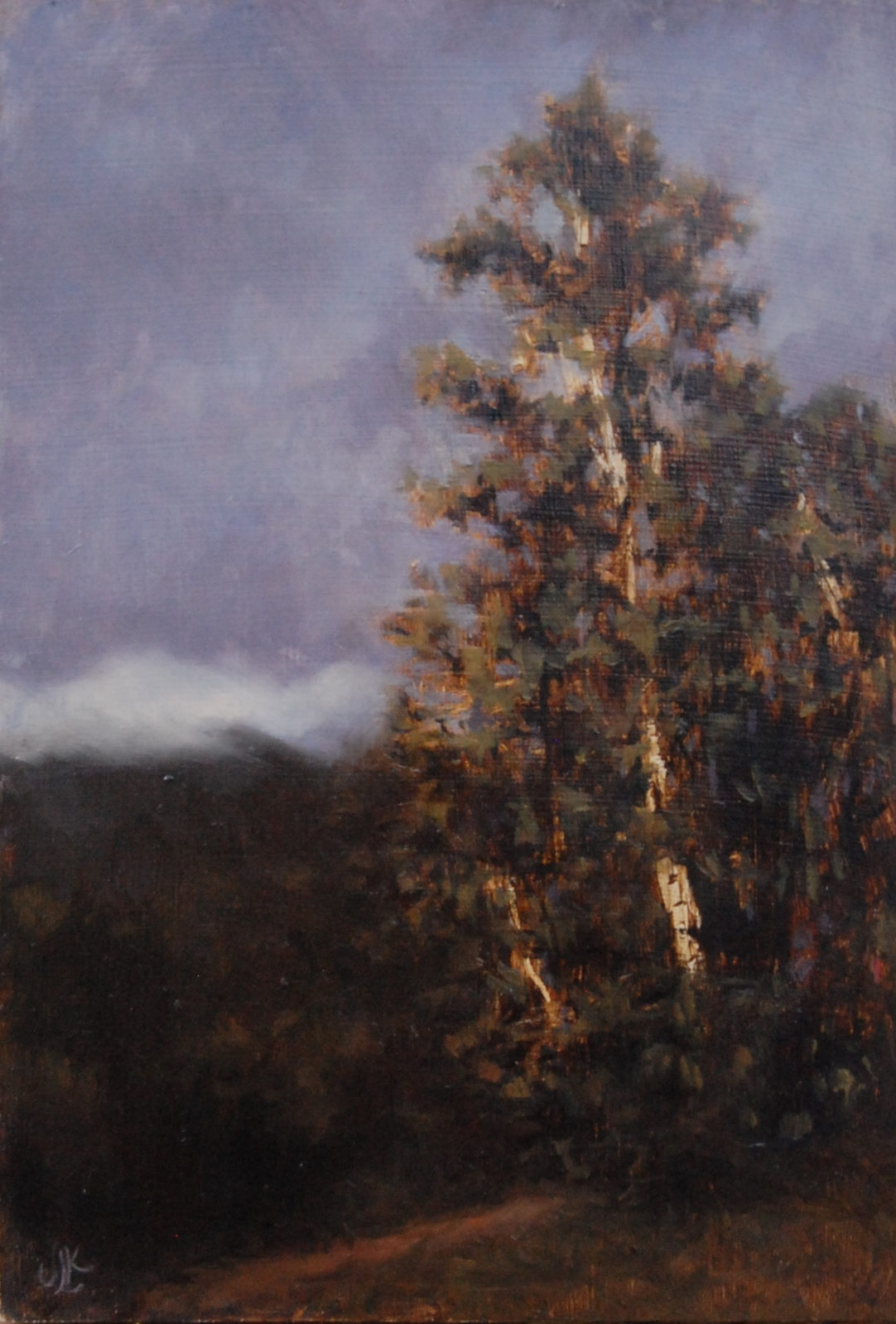 white mountain birch, oil on wood, 2014
