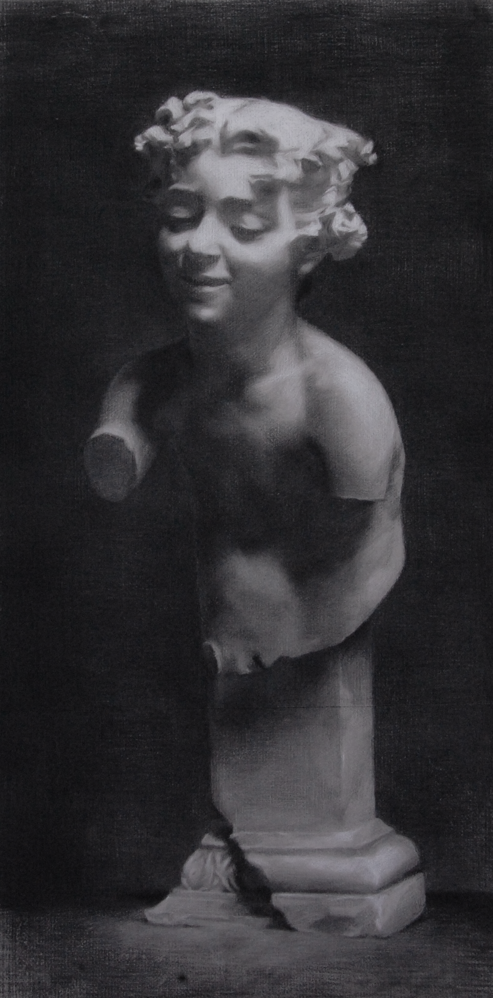 faun cast, charcoal & white chalk on paper, 2013