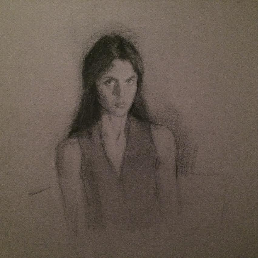 selfie, charcoal on paper, 2014