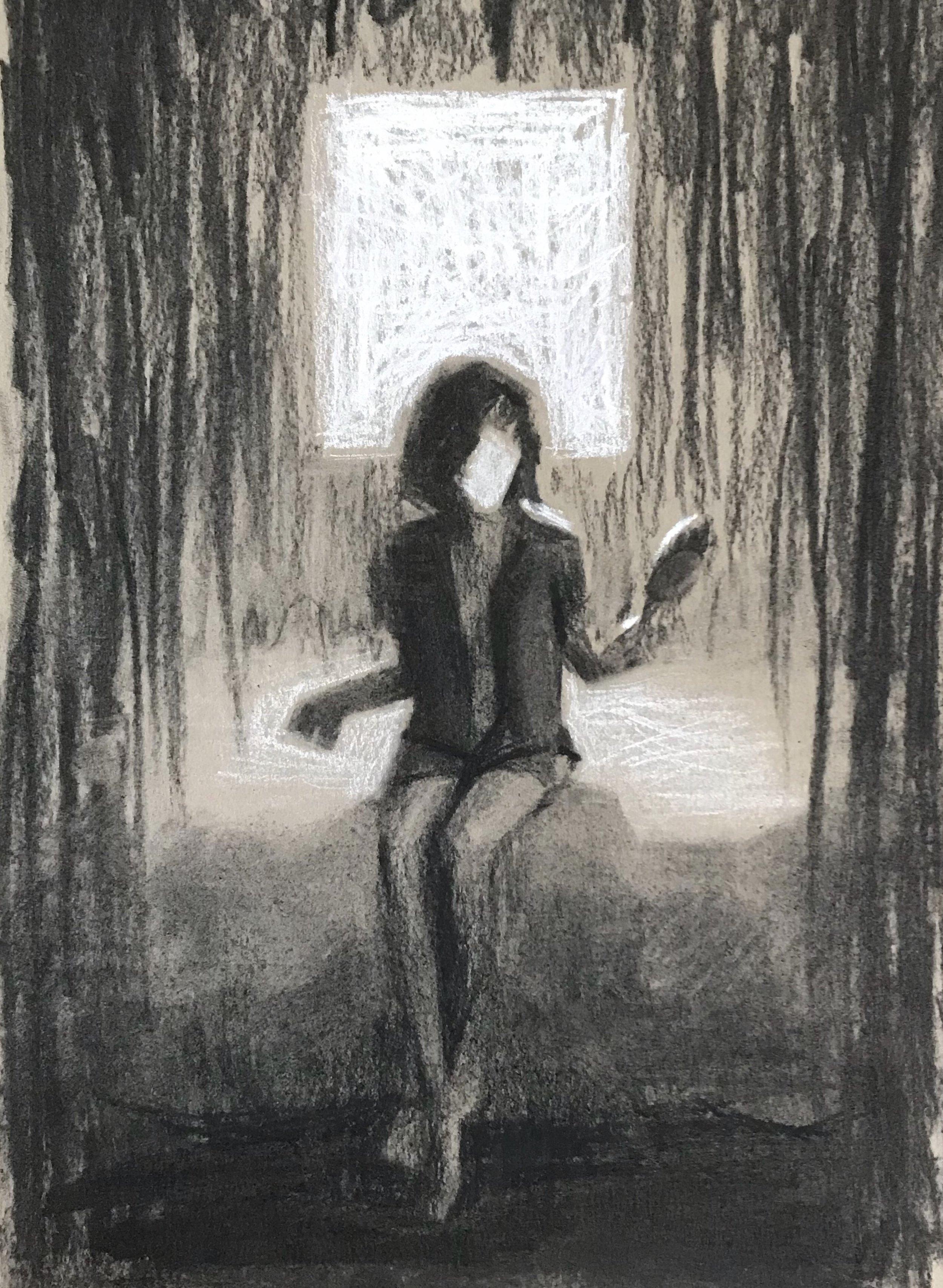 mirror mirror, charcoal & white chalk on paper, 2018