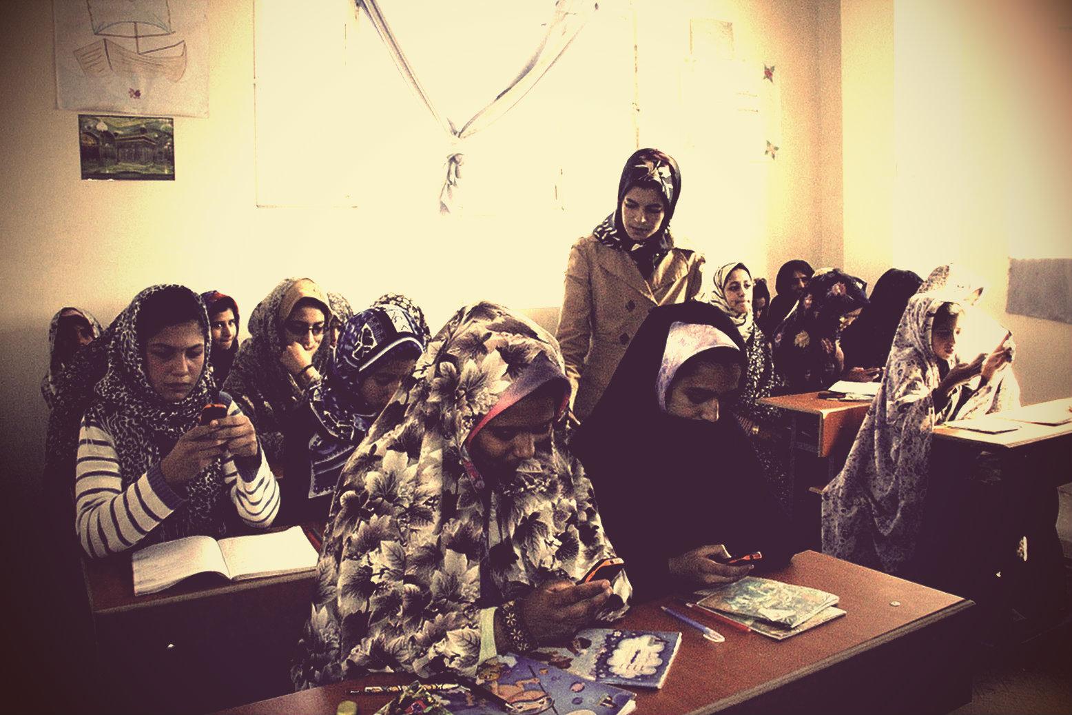 Afghan girls on phones_vintage.jpg