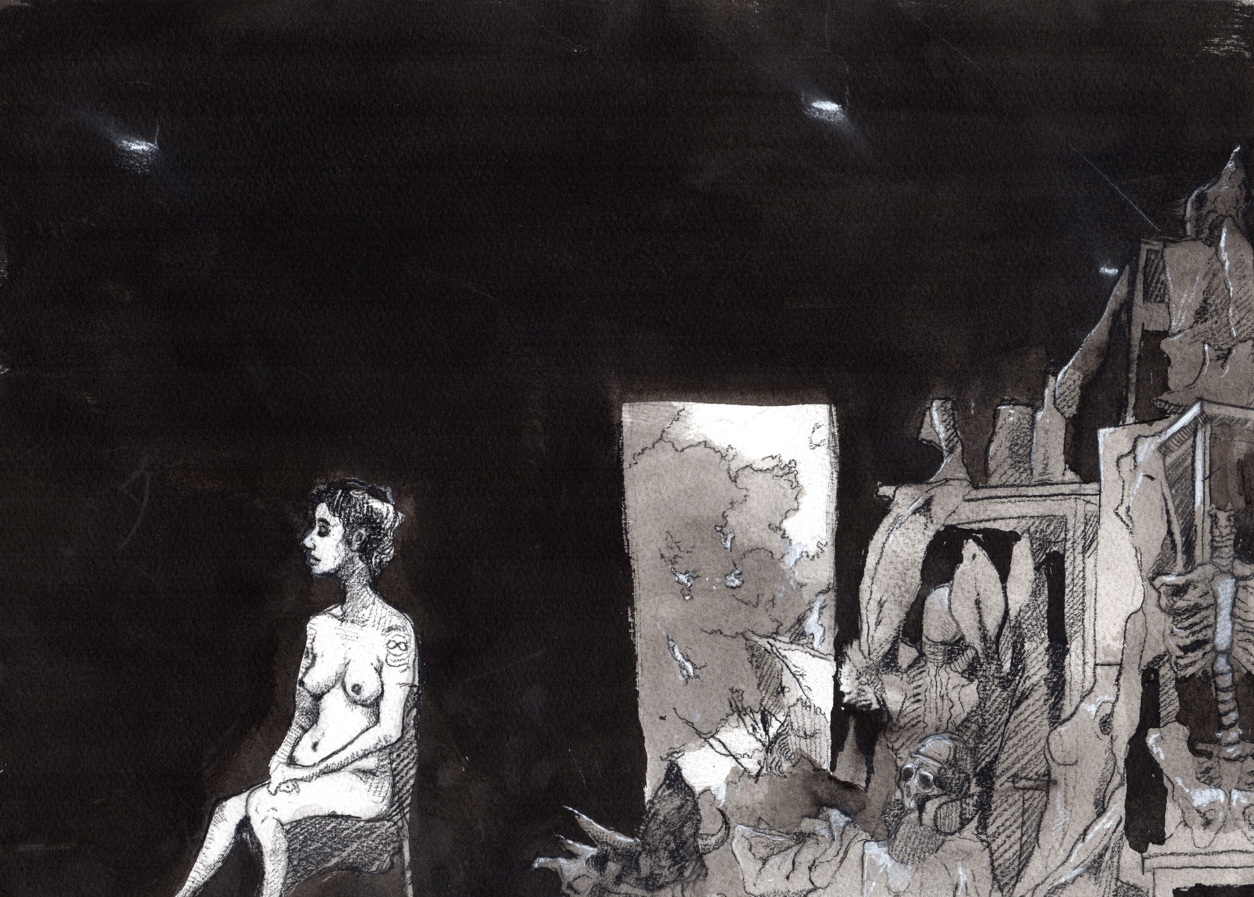 All the gods we loved  . 2013. 15 x 10 inches. Ink wash on paper.