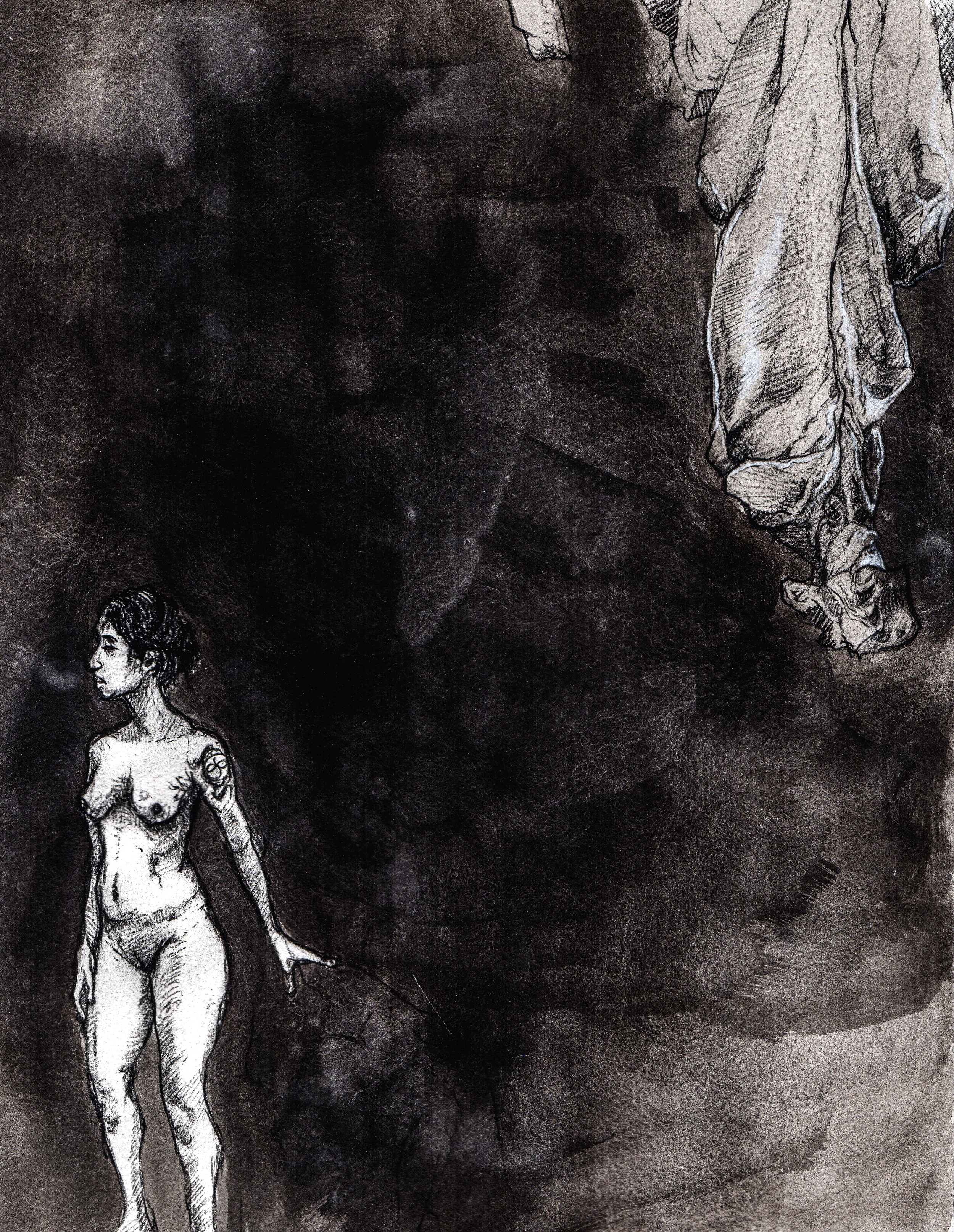 We held our lives by the whims that govern conversation  . 2013. 12 x 14 inches. Ink wash on paper.