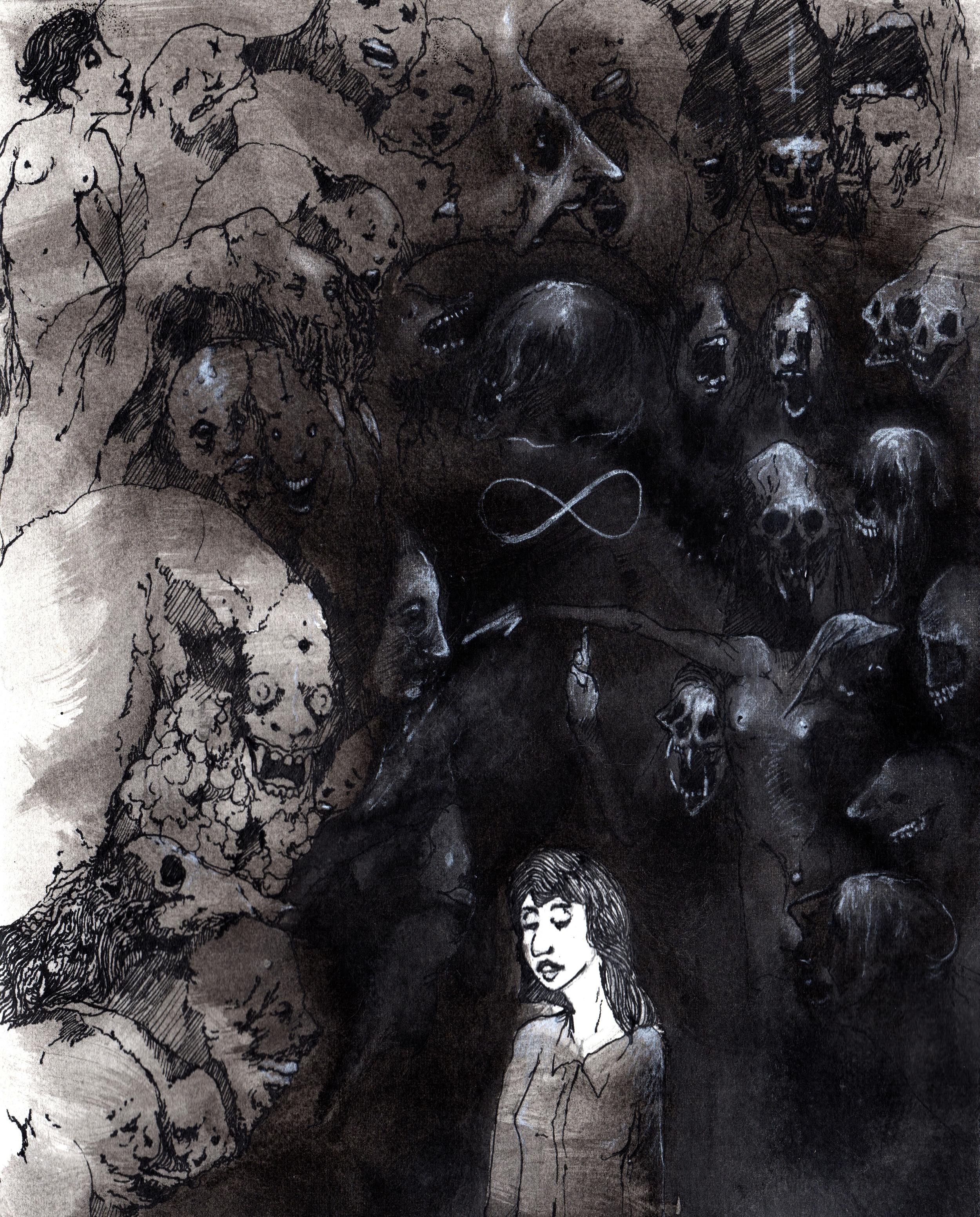 Bone White Glory  . 2013. 9 x 12 inches. Ink wash on paper.