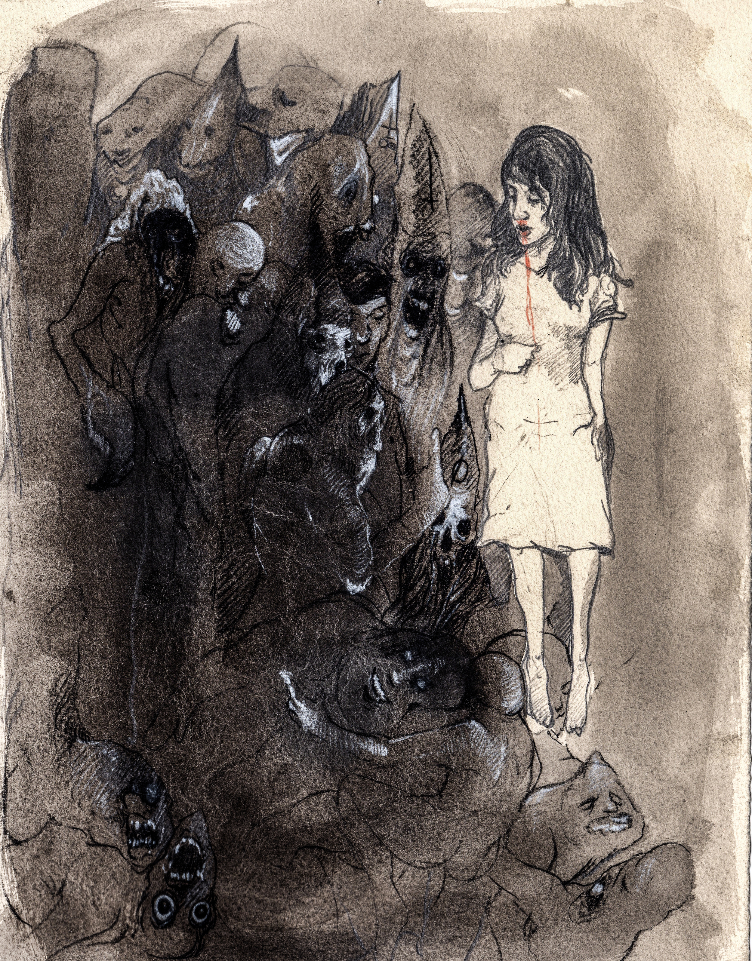 She came to me as blood and fluid.  2013. 10 x 12 inches. Ink wash on paper.