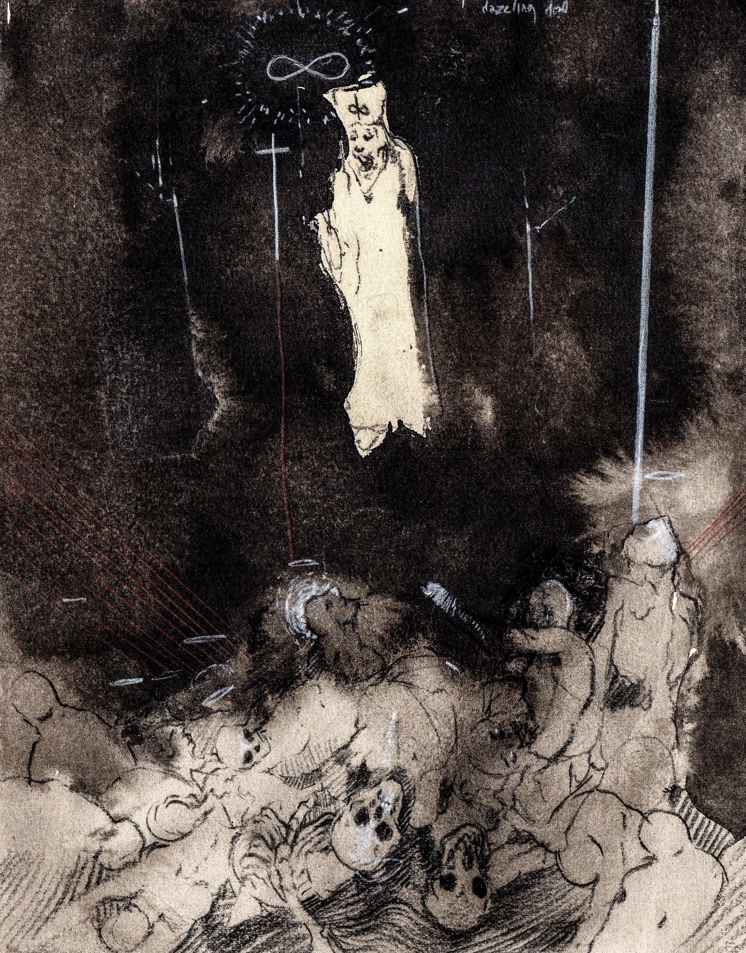 They have sent me in search for the dazzling dead  . 2013. 12 x 13 inches. Ink wash on paper.
