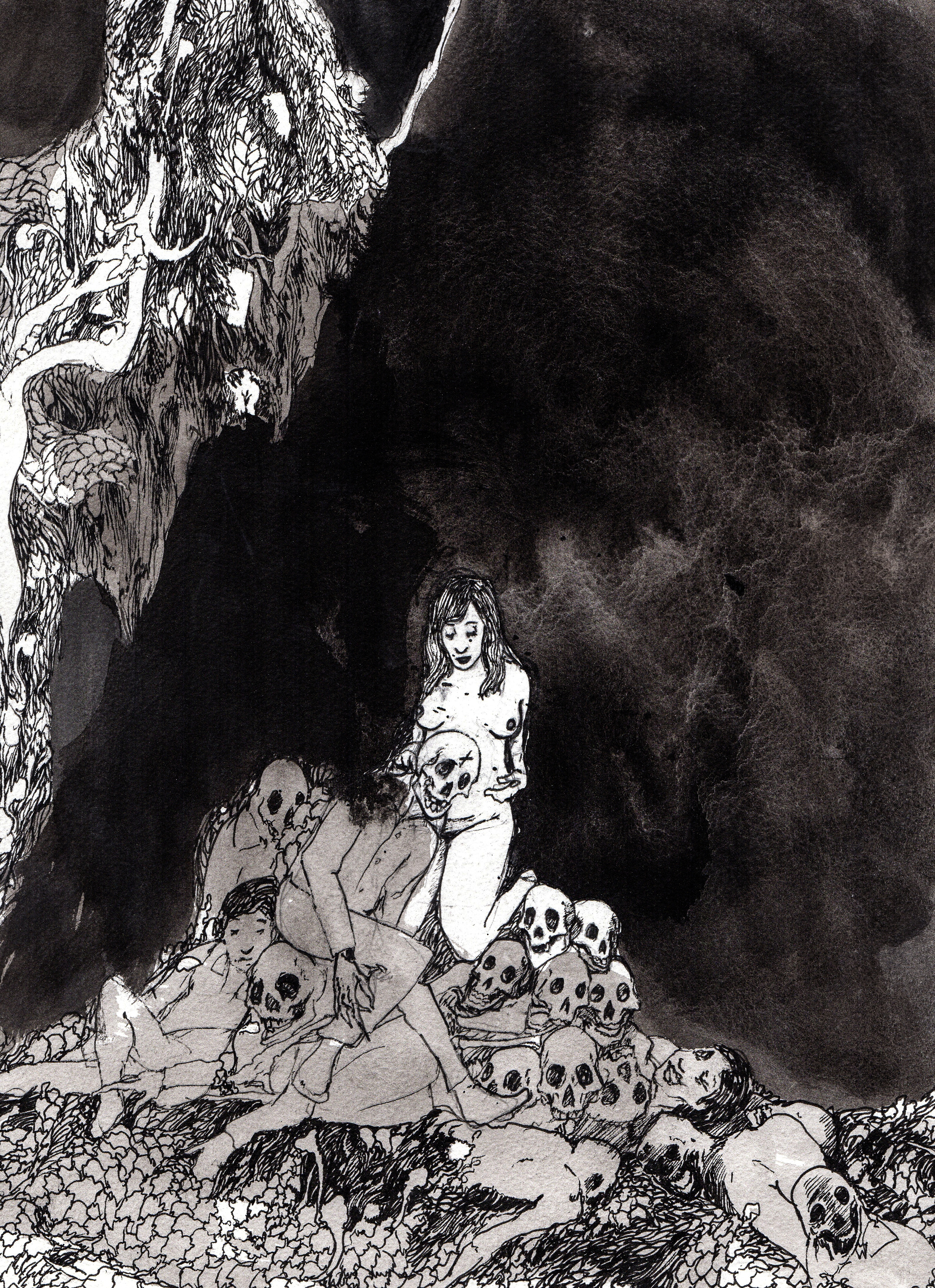 Silence of the Earth.  2013. 12 x 14 inches. Ink wash on paper.
