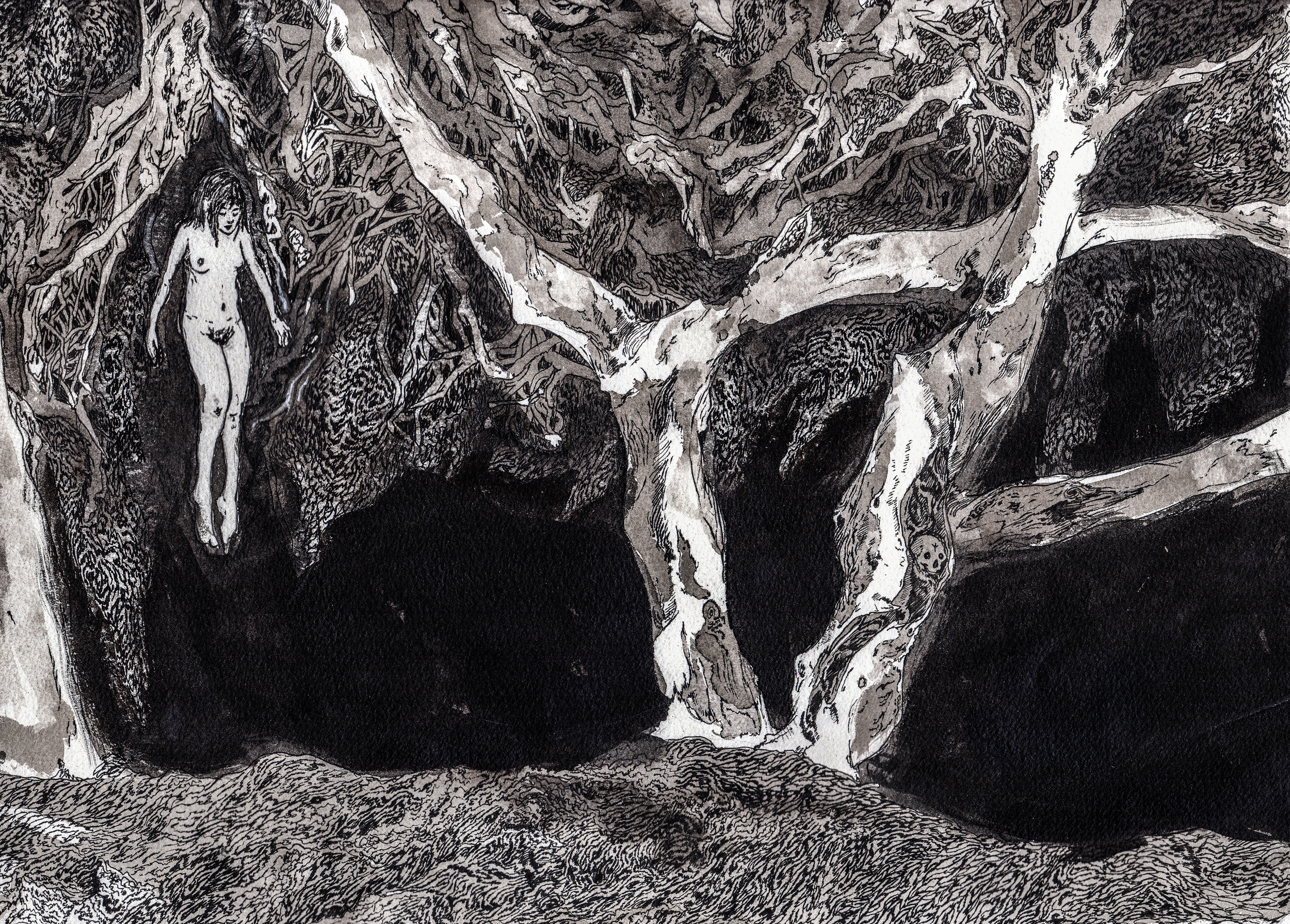 Eternal Return.  2014. 21 x 16 inches. Ink wash on paper.