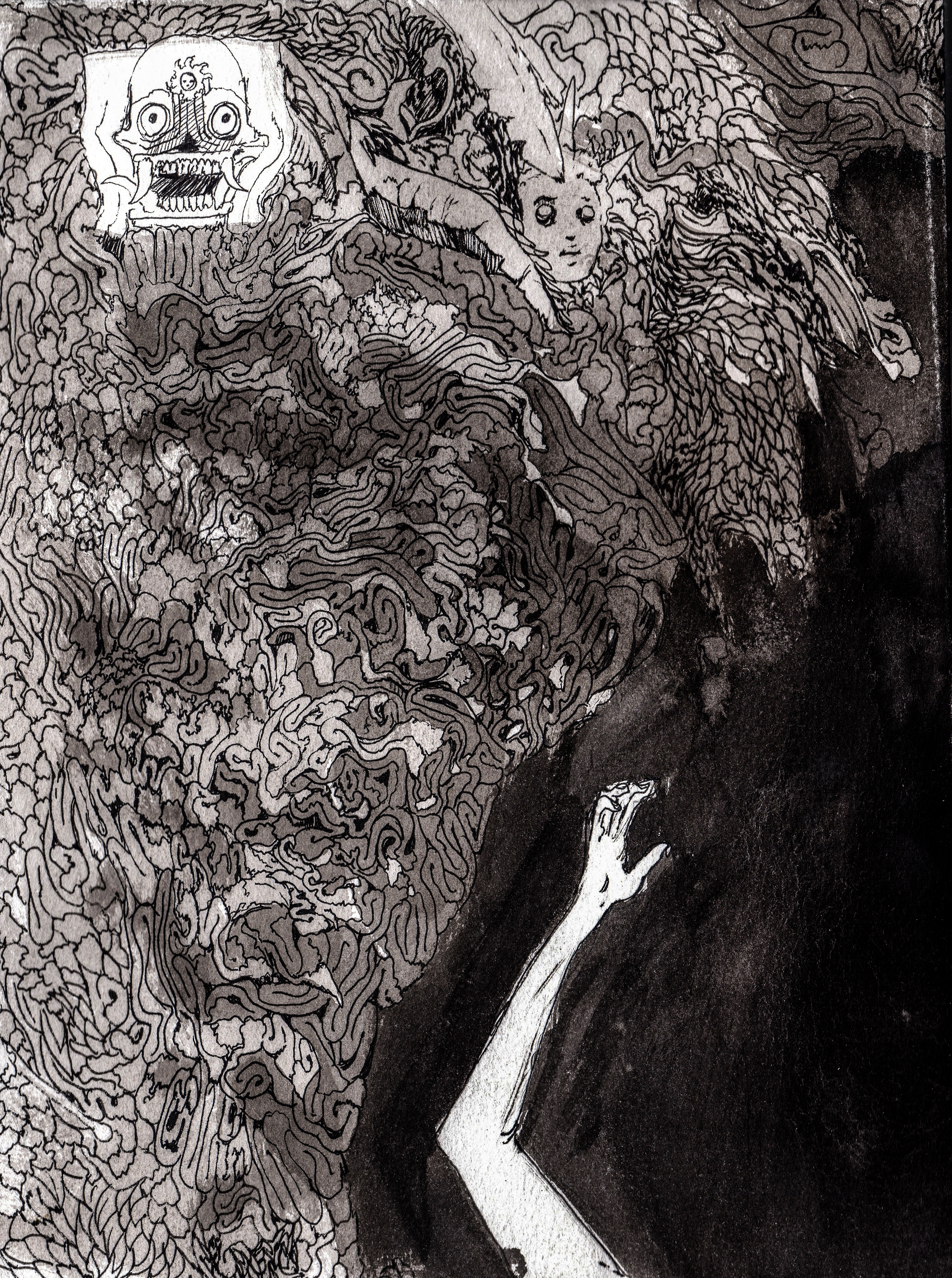 Glory to the unconquered sun.  2013. 12 x 15 inches. Ink wash on paper.