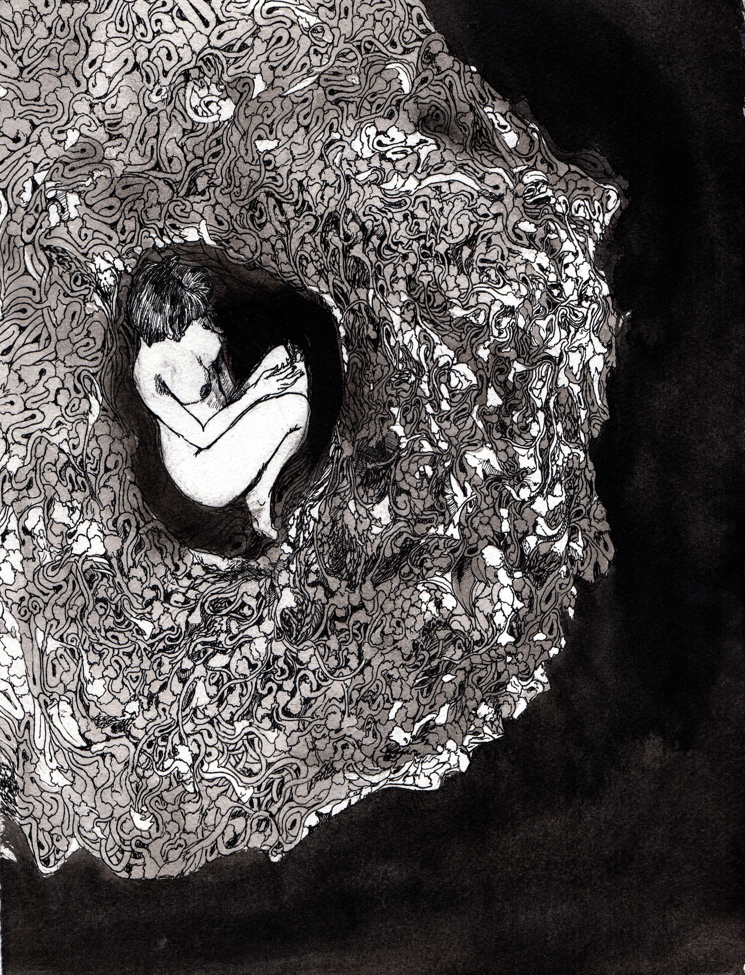 In her womb.  2013. 12 x 15 inches. Ink wash on paper.