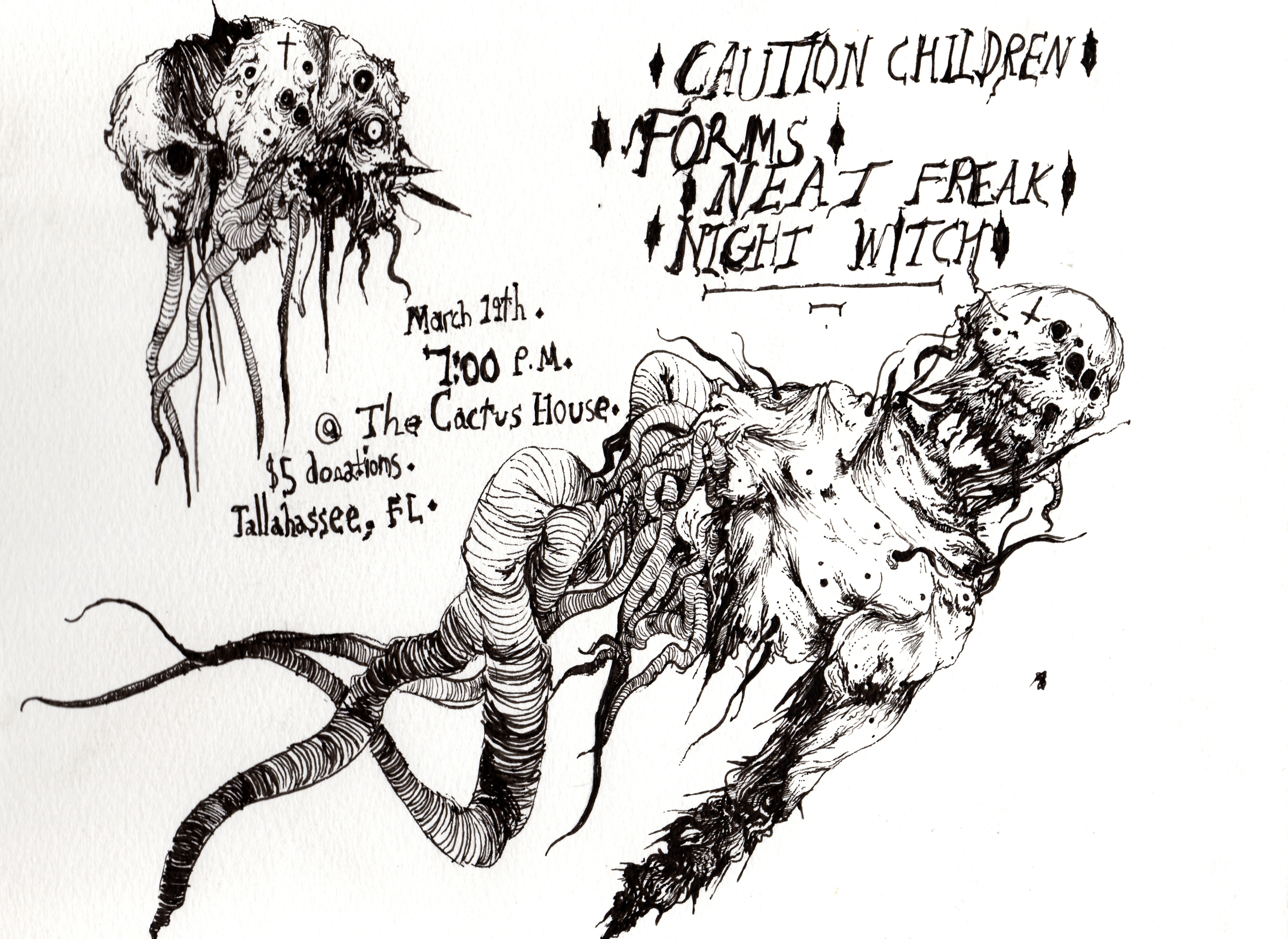 Flier for a SXSW tour kickoff show featuringThe Caution Children, Forms, and Neat Freak.