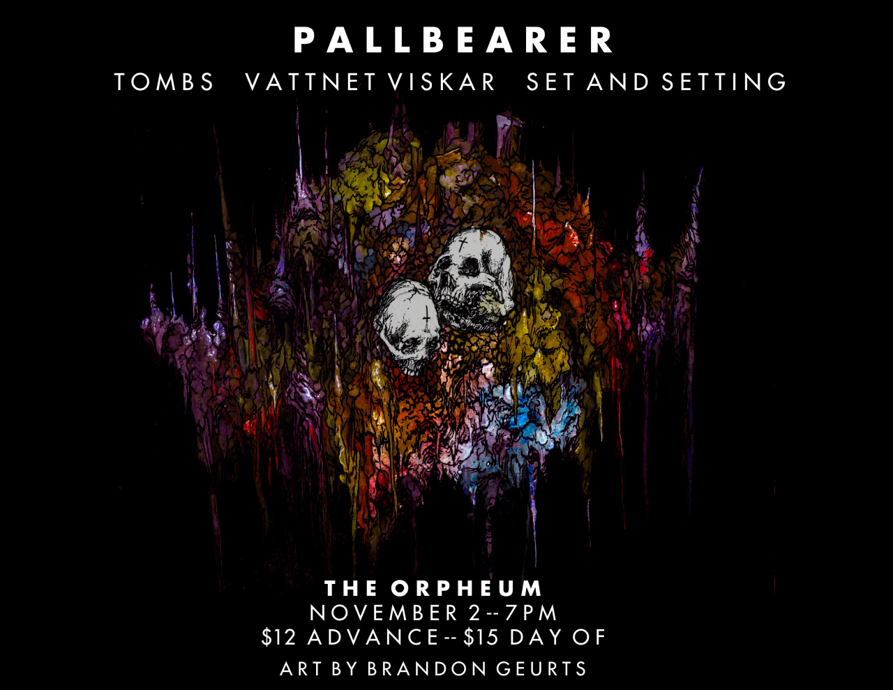 2014. Flyer for Pallbearer at The Orpheum. Tampa, FL.