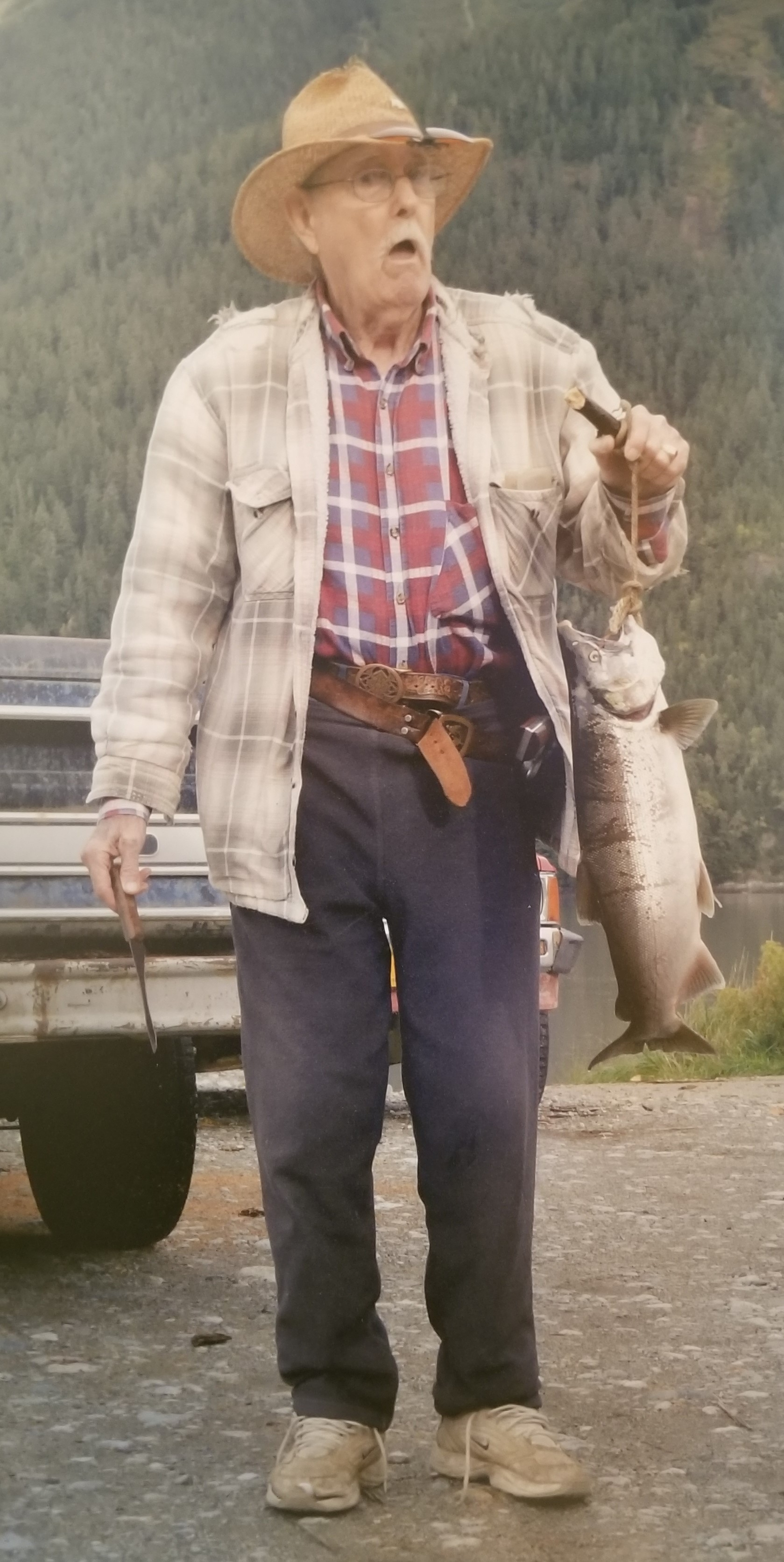 """""""Wild Bill"""" McCloskey with his catch."""