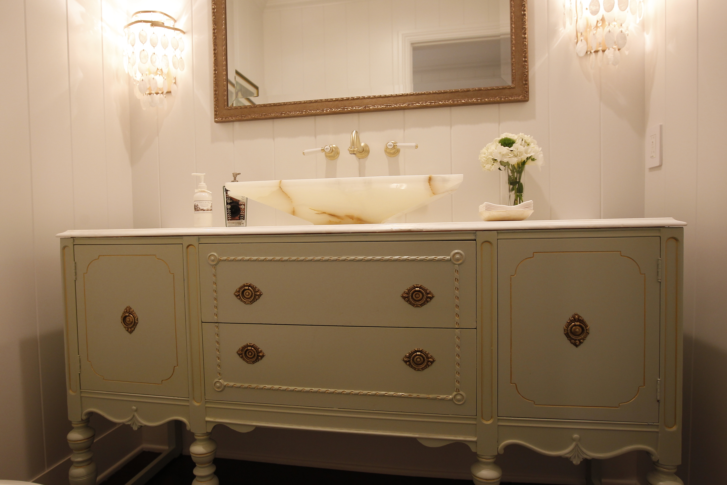 Powder Room painted vintage vanity
