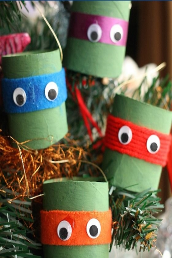 Teenage Mutant Ninja Turtle Ornaments made of Toilet Paper Rolls
