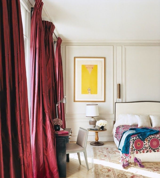 Marsala draperies and accents.  image credit: Vogue via Pinterest