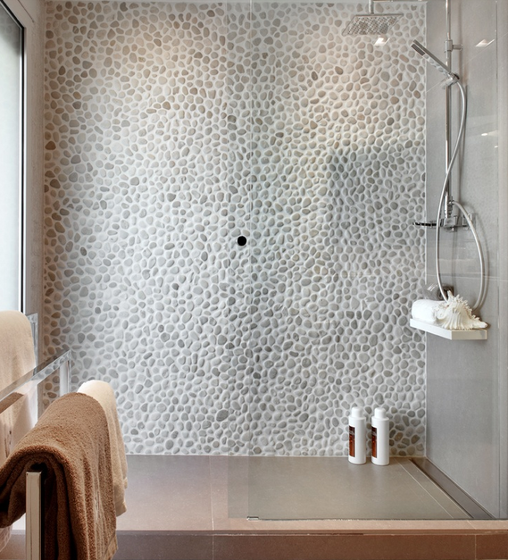 pebble shower wall