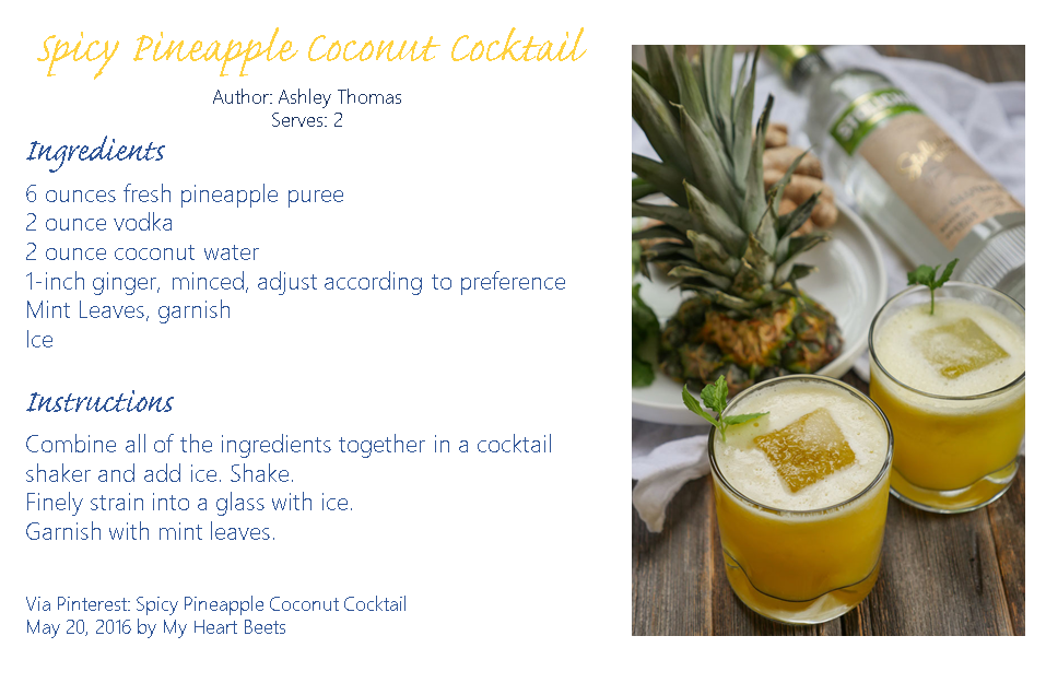 Spicy Pineapple Coconut Cocktail