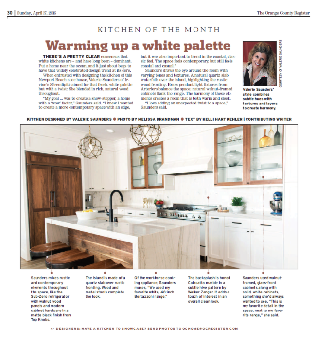 OC Register - April Kitchen of the Month   For those of you who missed Sunday's OC Register, Sérendipité & Shoreline Developers was featured as Kitchen of the Month for April.This is such an honor for our growing company!